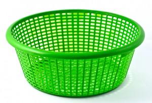 green plastic basket