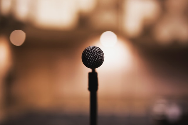 microphone in the spotlight
